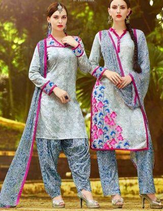 Picture of Beautiful Full Embroidery Chiffon Salwar Kameez Size 4Xl50