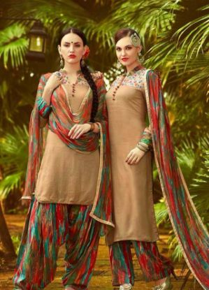 Picture of Beautiful Full Embroidery Chiffon Salwar Kameez Size L42 Ne