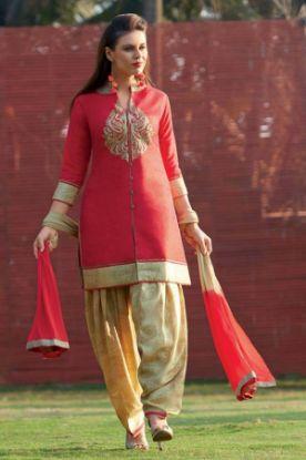 Picture of Anarkali Designer Red Color Salwar Kameez Beautiful Stylish