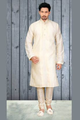 Picture of Admirable Beige Brocade Silk Indian Wedding Sherwani For Me
