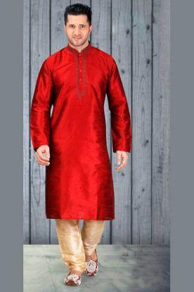 Picture of Admirable Cream Jacquard Silk Indian Wedding Sherwani For M