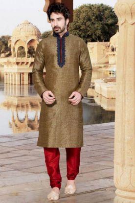 Picture of Admirable Off White Jacquard Silk Indian Wedding Sherwani F