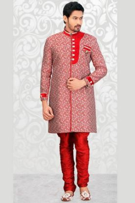Picture of Admirable White Jacquard Silk Indian Wedding Sherwani For M