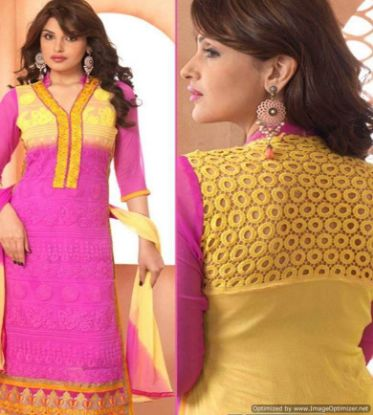 Picture of Beautiful 3Pcs French Crepe Salwar/Shalwar Kameez & Dupatta
