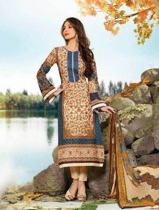 Picture of Fatimabi Yellow Salwar Kameez Embroidered Designer Partywea