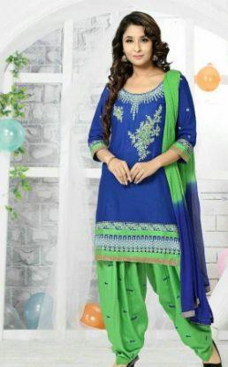 Picture of Diwali Festival Special Blue Anarkali Gown Dress Evening En