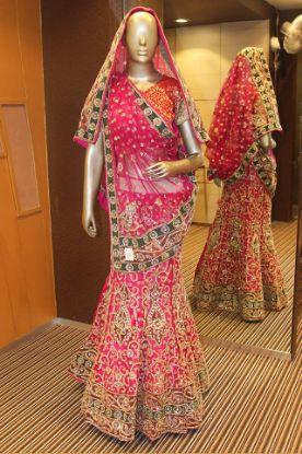 Picture of Blush Pink & Gold Embroidered Lace Lehenga Saree Sari Weddi