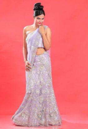 Picture of blue and red velvet lehenga,ghagra choli long blouse cuttin