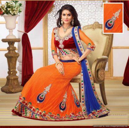 Picture of Blue Indian Pakistani Designer Wedding Semi Stitched B,G2506
