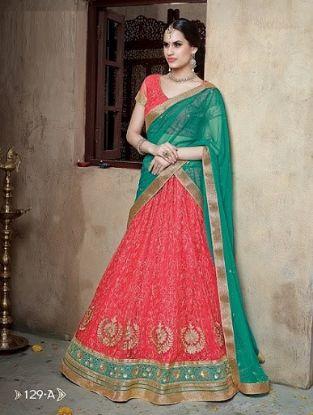 Picture of Blue Bollywood Indian Wedding Designer Silk Bridal Leh,G2648