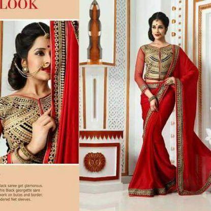 Picture of Ajastha Fancy Festival Wear Designer Georgette Sari With Se