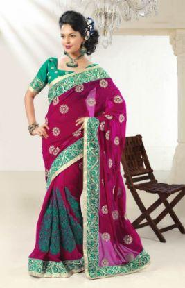 Picture of Golden Soft Silk Saree Grand Pallufull Jari Work New Hand