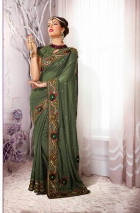 Picture of Georgette Saree Awesome Sequence Work Stylist Bollywood Des