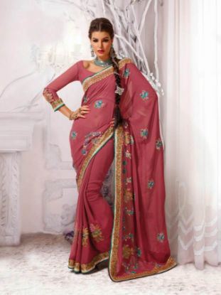 Picture of Georgette Saree With Fashionable Banarasi Fabric Unstitched