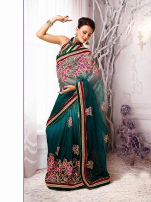 Picture of Georgette Sari Indian Ethnic Wedding Bollywood Bridal Desig