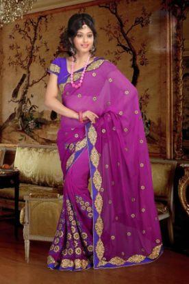 Picture of Designer Ethnic Stylesh Sari Orange And Green Satin Banaras