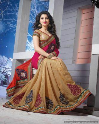 Picture of Indian Vintage Green Decorative Fabric Organza Silk Saree W
