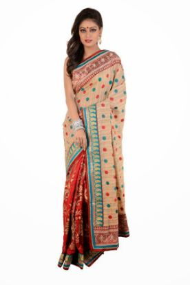 Picture of Indian Designer Beige Zari Border Bollywood Sari Georg,E3612