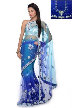 Picture of Indian Designer Blue Zari Border Bollywood Style Sari ,E3614