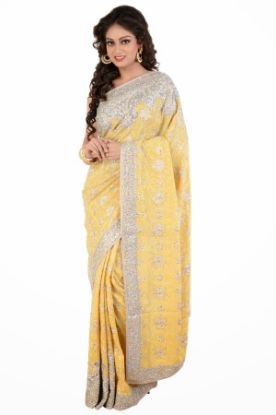 Picture of Indian Ethnic Vintage Saree Pure Cotton White Leaf Pri,E3642