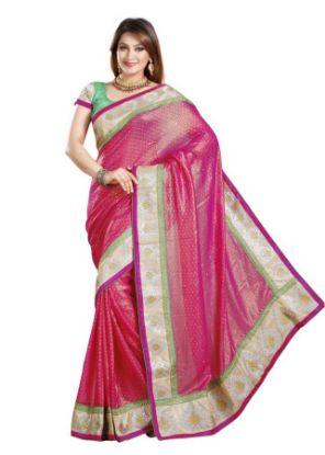 Picture of Green Silk Cotton Handloom Grand Pallu Jari Border New Soft