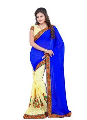 Picture of Indiandesigner Blue Beige Zari Jacquard Work Sari Banarasi