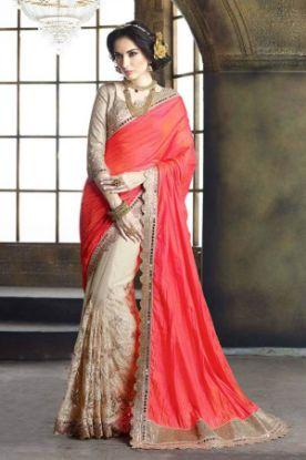 Picture of Red New Bhagalpuri Silk Saree Pakistani Party Wear Peacock