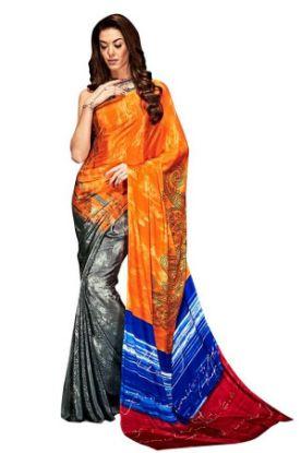 Picture of Ajastha Fancy Festival Wear Designer Georgette Sari Wi,E7051