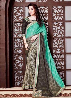 Picture of Dark Green Fancy Silk Saree Silk Saree Grand Pallu Fes,E7266