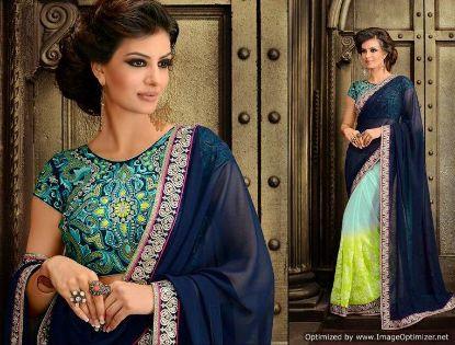 Picture of Designer Beige Embroidered Border Bollywood Sari Georg,E7268