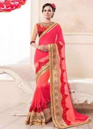 Picture of Indian Designer Sari Rani&Chiku Silk Bridal Embroidery,E7632