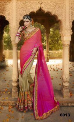 Picture of Pakistani Bollywood Art Silk Saree Indian Festival Wea,E9090