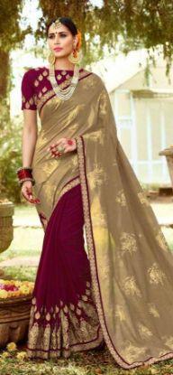 Picture of Vintage Brown Saree Ikat Printed Georgette Sari Ethnic,E9793