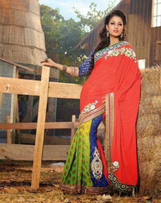 Picture of Black Designer Embellish Sari Georgette Festival Pakis,E2807