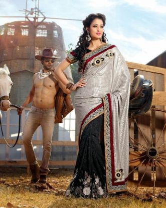 Picture of Black Heavy Kanjivaram Art Silk Saree With Blouse Trad,E2809