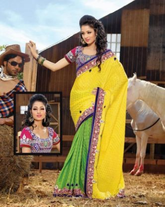 Picture of Black Traditional Bhagalpuri Silk Bollywood Saree Paki,E2812