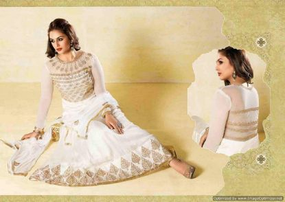 Picture of Gold Appliques Whiteivory Tulle Ball Gown Wedding Dress Bri